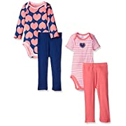 Gerber Baby Girls' 4 Piece Bodysuit and Pant Set, Hearts, 0-3 Months