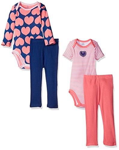 Gerber Baby Girls' 4-Piece Bodysuit and Pant Set, Hearts, 3-6 Months