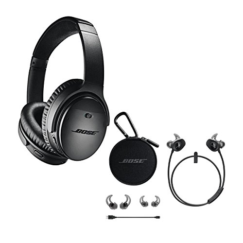 Bose QuietComfort 35 Wireless Headphones II with Microphone, Noise Cancelling, Black - With Bose SoundSport Wireless Headphones - Black