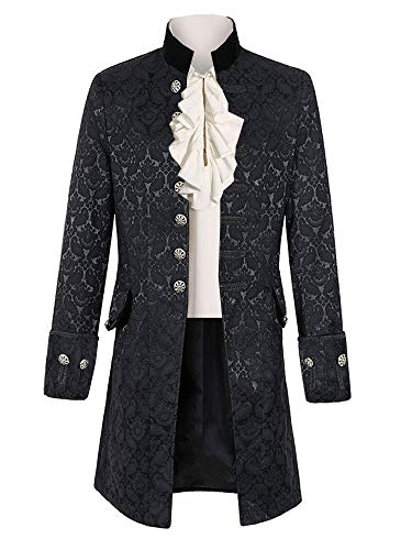 Pxmoda Mens Gothic Tailcoat Jacket Steampunk Victorian Tuxedo Uniform Halloween Costume Coat (2XL,Black) -