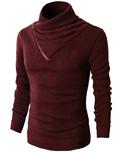- H2H Mens Fashion Turtleneck Slim Fit Pullover Sweater Oblique Line Bottom Edge WINE US S/Asia M (KMTTL041)
