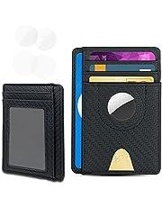 Aukvite Portemonnee Voorvak Met Air Tag-beschermhoes, Portemonnee van PVC Compatibel met Air Tags, Kan Voldoende Creditcards en Portemonnees Bevatten (zwart)