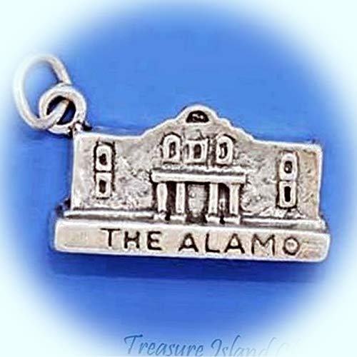 The Alamo San Antonio Texas .925 Sterling Silver Charm Vintage Crafting Pendant Jewelry Making Supplies - DIY for Necklace Bracelet Accessories by CharmingSS