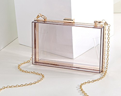 Purse Cross Charm Case Womens Square Clear Chain Clutch Body Acrylic Bag Evening qwpHx0nv