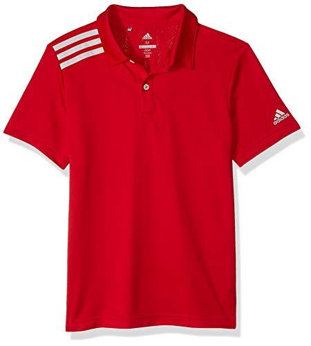 (adidas Golf 3-Stripe Tournament Polo, Bold Red, Large)