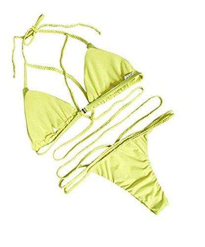 Spiaggia Bendare Nuoto YuanDian Fascia Bagno Imbottito Due Donna Pezzi Piscina Push Perizoma Costumi Brasiliani Da Sexy Set Mare Up Bikini Costume Giallo Da zwzWFgxfUq