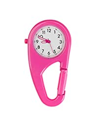 Best Quality Pink Metal Unisex Fob Pocket Watch For Sports, Workout And Outdoor Activities With Secure Carabiner To Clip On Belts, Loops Or Backpacks By VAGA