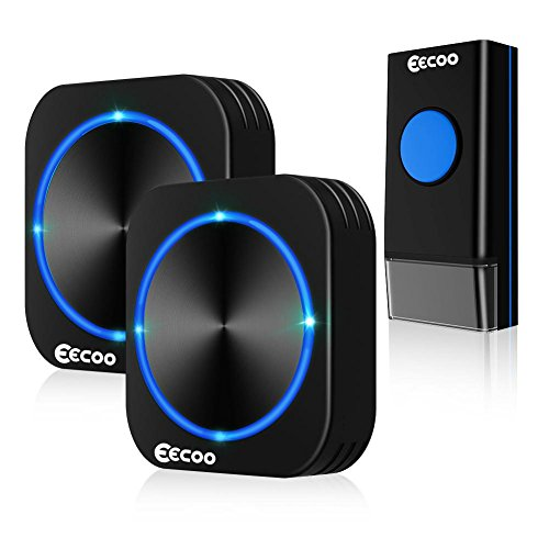EECOO Wireless Doorbell, Waterproof Door Kit, 2 Lighted Plugin Receivers & 1 Remote Button Transmitter with Battery, 58 Chimes Melodies, 1000ft Long Range Black Bells, 4 Working Modes