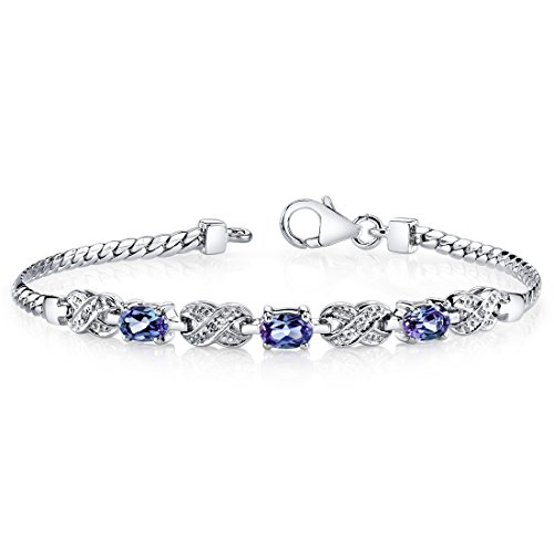 - Simulated Alexandrite Bracelet Sterling Silver Oval Shape