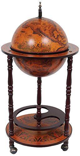 High Quality Old Modern Handicrafts Globe Bar Table With 4 Leg Stand, 30mm, Red