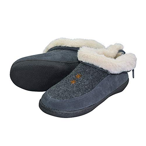 Women's Plush Lining Fuzzy Fur Slip On Indoor Slippers with Memory Foam Sole US 7 Grey ()