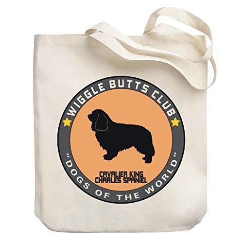 - Teeburon Cavalier King Charles Spaniel Wiggle Butts Club Pin Canvas Tote Bag 10.5