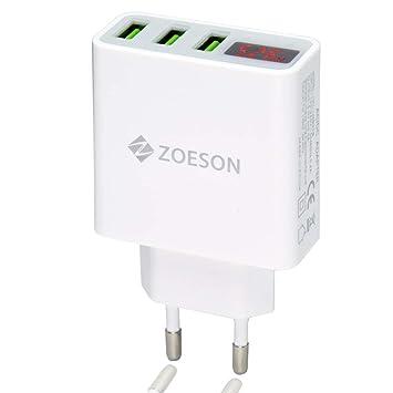 Monitoreo rápido en tiempo real de 3 puertos USB Cargador de pared de corriente y voltaje, adaptador de cargador de viaje(Estándares europeos)