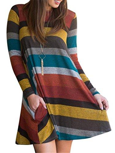 Camicetta Colore Strisce Tops A Cromoncent Giallo Donne Blocchi Vestito Morbido Lungo Di Manicotto nwSqngzH1