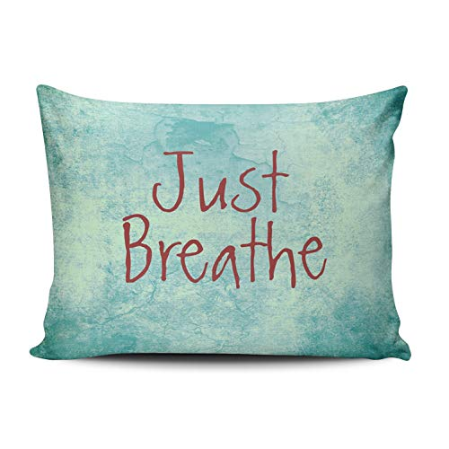 Aqua Boudoir Pillow - Fanaing Bedroom Custom Decor Just Breathe Quote Pillowcase Soft Zippered Aqua Turquoise and Red Throw Pillow Cover Cushion Case Fashion Design Double-Sided Printed Boudoir 12x16 Inches