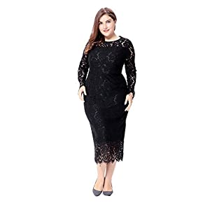 31cae925665 Paronlinka Women s Long Sleeve Plus Size O-Neck Prom Lace Dress (14W
