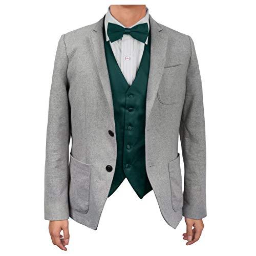 Dan Smith DGEE0005-M Dark Green Plain Microfiber Beautiful Waistcoat Satin Boyfriends Gift Vest Matching Bow Tie ()