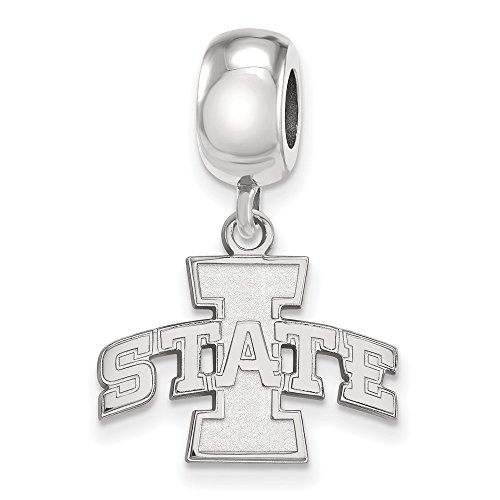 Sterling Silver LogoArt Official Licensed Collegiate Iowa State University (ISU) Small Dangle Bead by LogoArt