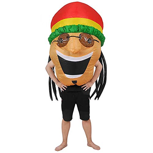 RHYTHMARTS Inflatable Jamaican Costume Easter Costume Fancy Dress Cosplay Party Suits (Jamaican Orange) ()