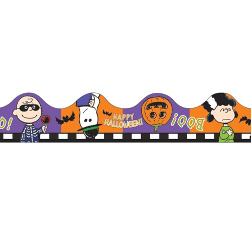 Eureka Peanuts Halloween Scalloped Deco Trim, Set of 12 Reusable Strips, Each Strip Measuring 37