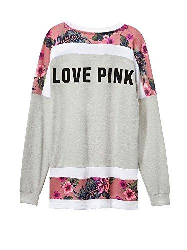 Victorias Secret PINK Varsity Crew Pullover Tropical Floral X-Small Gray (Victorias Secret Slouchy Crew)