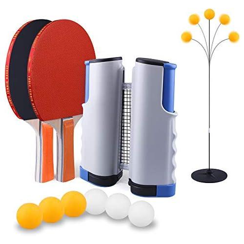 chollos oferta descuentos barato SUPERSUN Set de Ping Pong 2 Raquetas de Tenis de Mesa 6 Pelotas de Ping Pong 1 Entrenadorde de Tenis de Mesa 1 Retráctil Mesa Ping Pong Profesional Portátil para Juegos de Interior y Exterior