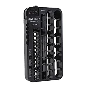 Ohuhu Battery Organizer with Battery Tester (Removable), Wall Mountable