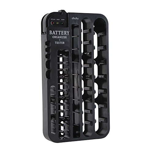 Ohuhu Battery Organizer with Battery Tester (Removable), Wall Mountable (Top Mounted Drawer Slides compare prices)