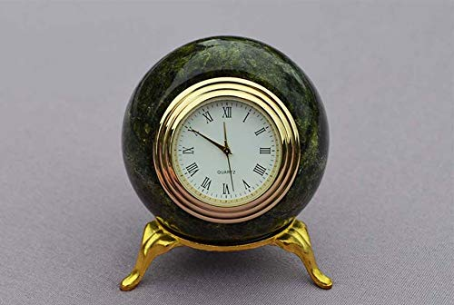 (Russian Green Serpentine Stone Clock sphere shape, Handmade )