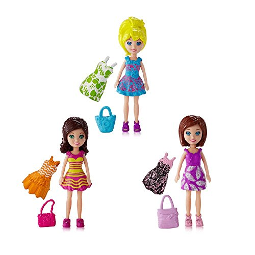 Polly Pocket Fashion Pack Combo, Polly, Lea, Lila, Clothes with bags, Doll (Polly Pocket Fashion Bag)