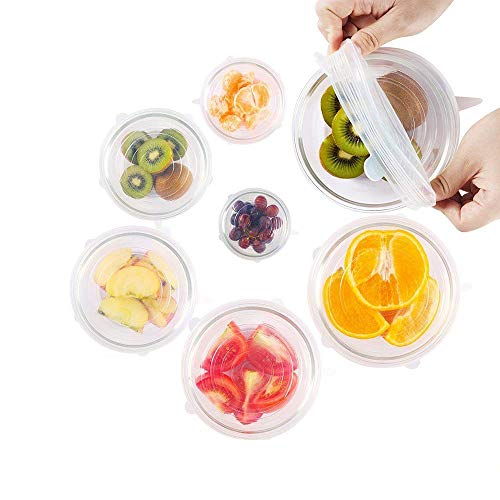 MoonPi Silicone Stretch Lids 6 Pack Fit Various Sizes Reusable Fresh Food Cover Expandable for Bowl/Cup/Pot/Dish/Container FDA Certified Dishwasher/Freezer/Microwave Oven Safe