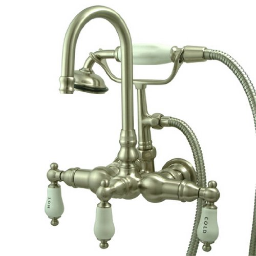 - Kingston Brass CC9T8 Vintage Leg Tub Faucet with Hand Shower, Satin Nickel