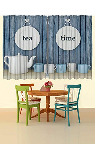 - Ambesonne Kitchen Curtains Restaurant Supplies, Tea Time Blue Wooden Planks Kitchen Dining Room 2 Panels Curtains White Cups Vintage Country Rustic Decor for Tea Lovers Tea Party 55 X 39 Inches