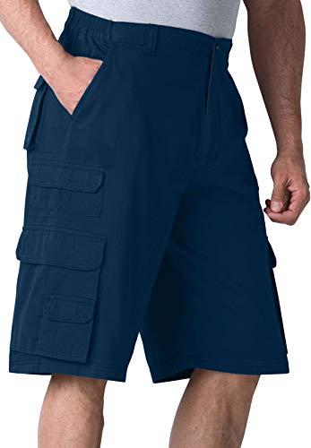 (Boulder Creek Side-Elastic Twill Cargo Shorts, Navy Big-44)