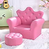 Cheap Costzon Kids Sofa, PU Leather Princess Sofa with Embedded Crystal, Upholstered Armchair with Ottoman, Perfect for Girls (Pink/ Sofa with Ottoman)