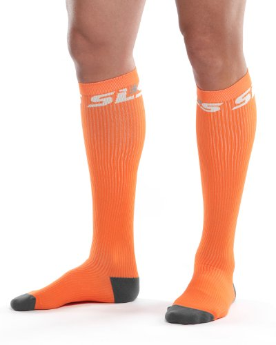 Performance One Compression Socks - SLS3 True Graduated Allrounder Compression , Performance, Training, Race, Recovery Socks (1 pair) - Helps Shin Splints Black, Orange, Medium/Large