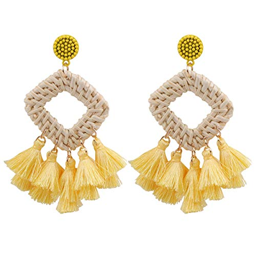 HAO HONG Statement Beads Hoop Tassel Earrings for Women,Drop Earrings Handmade Beaded Fringe Dangle Earrings (A)