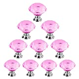 Dxhycc 10 Pcs Crystal Glass Cabinet Knobs 30mm