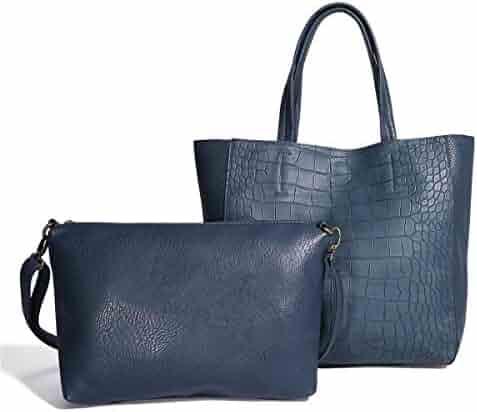 Women Handbags Tote Bag PU Leather Shoulder Bags Satchel Hobo 2pcs Purse Set 6b8edd83d9ddd