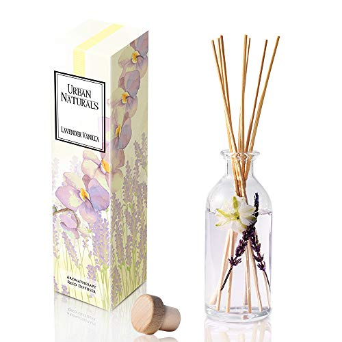 Urban Naturals Lavender Vanilla Reed Diffuser Set | Room Scent Infuser Real Lavender & Natural Flowers | Soothing Scent Makes a Great Housewarming Gift | Beautiful Home Decor Made in ()