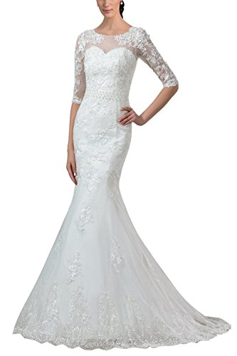M Bridal Women's Sequines Appliques Half Sleeve Scoop Neck Long Mermaid Wedding Dress Ivory Size 12