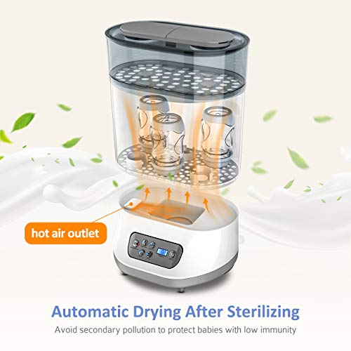 OMORC 550W Bottle Sterilizer and Dryer for Baby, 5-in-1 Multifunctional Electric Steam Sterilizer with Auto Power-off, Digital LCD Display for Sterilizing, Drying, Warming Milk, Heating Food by OMORC (Image #4)