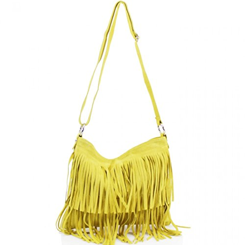Yellow Mustard LeahWard Crossbody Leather Tassle Shoulder Handbags 12 Women's Bag Real zrrwpv