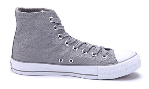 Schuhtempel24 Damen Schuhe High Sneaker Flach Grau ansbach