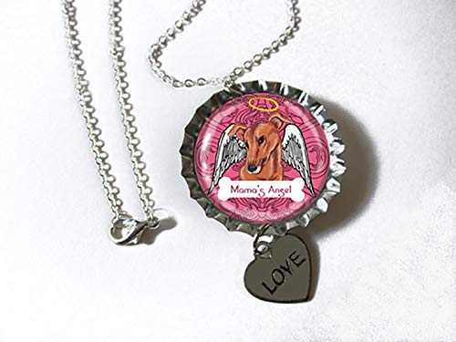- Greyhound Tan Dog Silvertone Bottlecap Pendant Necklace with Heart Charm as a GIFT FOR KIDS