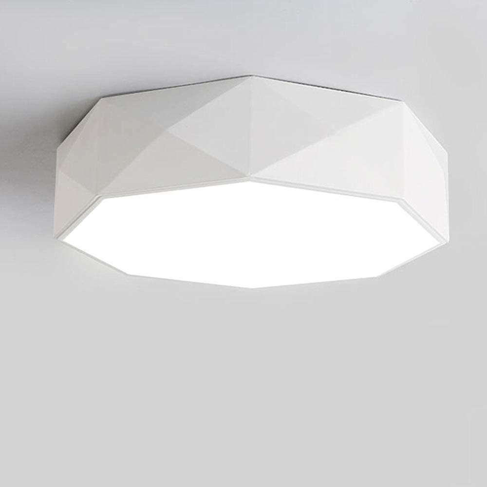 LADIQI 16インチ モダン LED シーリングライト フラッシュマウント ホワイトドラム 寝室 LED シャンデリア 照明器具 アクリル B07NBRH29G