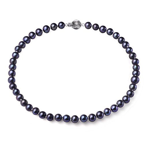 8mm Black Freshwater Pearl Necklace - 4