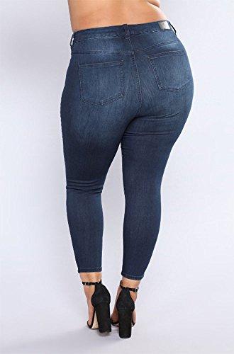 Indigo Azul Boot Pocket Tallas 4 grandes Pantalones manuales Denim con cut agujeros Jeans 7B5qw5