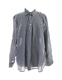 LRL Lauren Jeans Co. Womens Plus Striped Adjustable Sleeves Button-Down Top