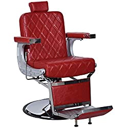 BarberPub Heavy Duty Metal Vintage Barber Chair All Purpose Hydraulic Recline Salon Beauty Spa Shampoo Equipment 3825 (All Red)